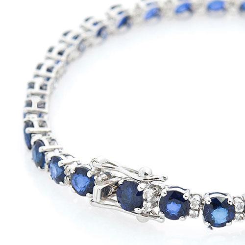 Тонкий браслет с сапфирами и бриллиантами, фото