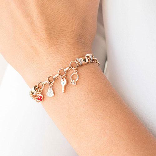 Браслет из красного золота с циркониями и эмалью, фото