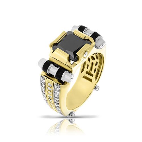 Кольцо из желтого золота с бриллиантами, фото