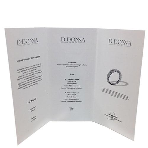 Кольцо D-Donna Ruggero Broggian Margherita из белого золота с изумрудом и бриллиантами, фото