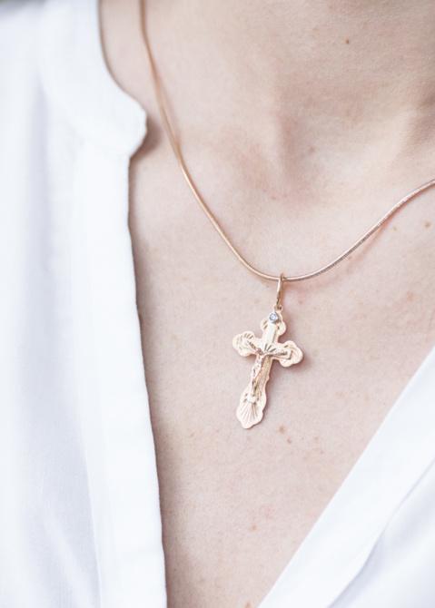 Золотой крест-подвеска с вставкой-фианитом, фото