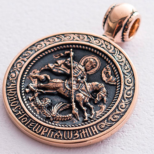 Золотой кулон Георгий Победоносец с чернением, фото