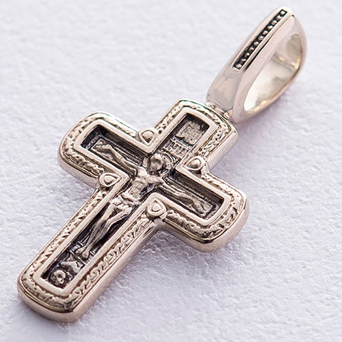 Подвеска-крестик из золота с надписью, фото