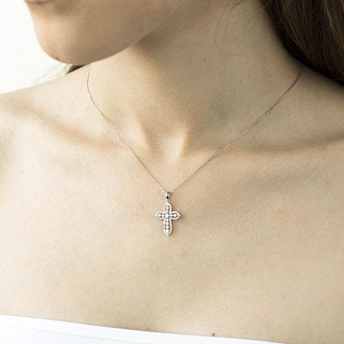Объемный крестик с бриллиантами, фото