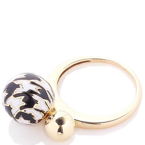 Золотое кольцо Roberto Bravo Pied De Poule с двумя шариками и орнаментом гусиная лапка, фото
