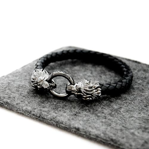 Кожаный браслет TOTEM Adventure Jewelry Lion родированный, фото
