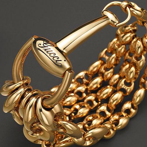 Широкий браслет из желтого золота Gucci Marina Chain, фото