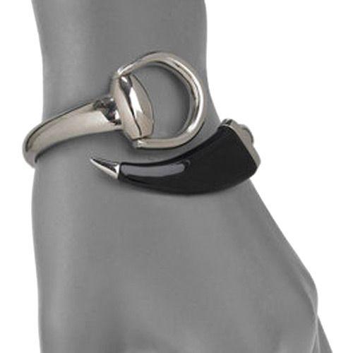 Браслет Gucci из серебра Horsebit with black horn, фото