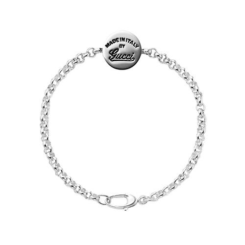 Серебряный браслет Gucci Craft с круглым диском на цепочке и гравировкой, фото