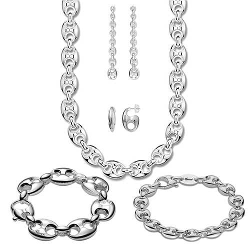 Браслет-цепь Gucci Marina Chain из стерлингового серебра с фирменными звеньями, фото