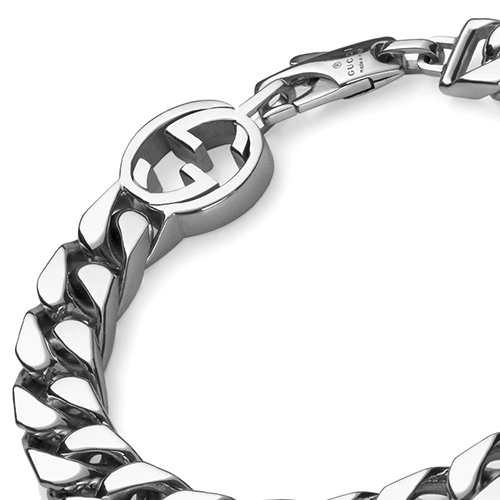Серебряный браслет-цепочка Gucci Running G с фирменным логотипом, фото