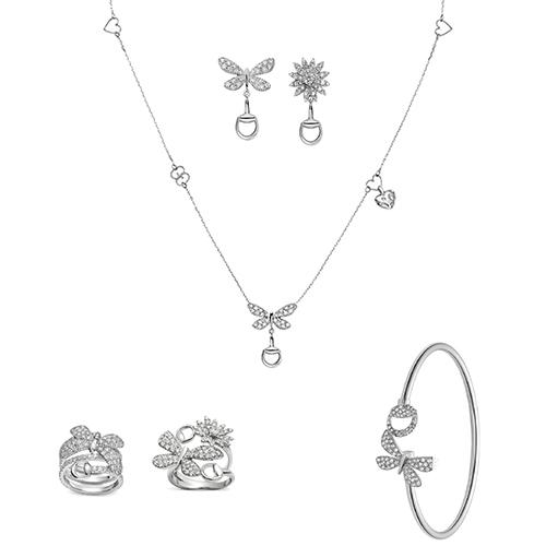 Тонкий браслет Gucci Flora из белого золота с бабочкой и бриллиантами, фото