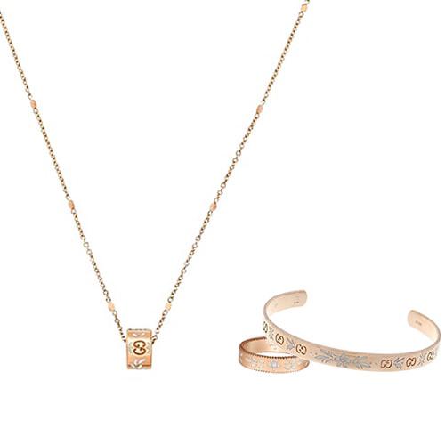 Тонкий незамкнутый браслет Gucci Icon из розового золота с тиснением и узором из эмали, фото