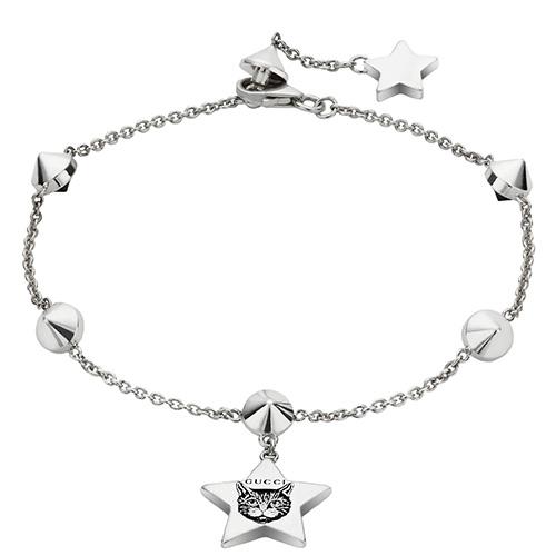 Серебряный браслет Gucci Blind for Love с подвеской в виде звезды и камнями, фото