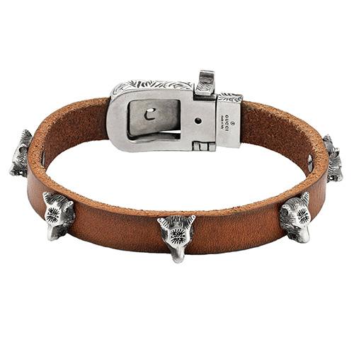 Коричневый кожаный браслет Gucci Anger Forest с серебряной пряжкой, фото