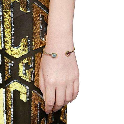 Витой браслет-кафф Gucci Le Marche des Merveilles с аквамарином и турмалином, фото