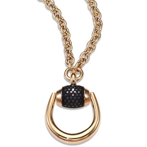 Колье из розового золота Gucci Horsebit с черными бриллиантами, фото