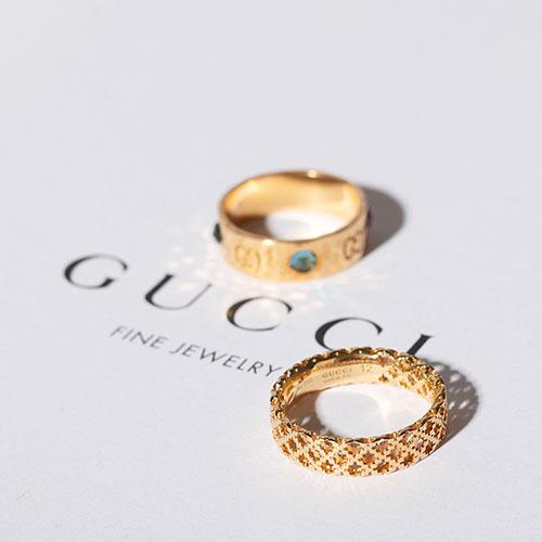 Широкое кольцо Gucci Diamantissima из желтого золота с перфорированным узором, фото
