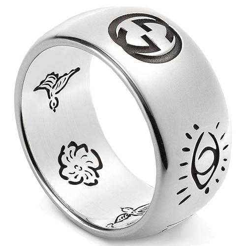 Широкое кольцо Gucci Blind for love из серебра с романтичной гравировкой, фото