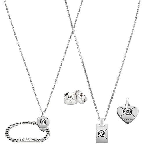 Широкое кольцо Gucci ghost из стерлингового серебра с выгравированными черепами, фото