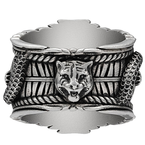 Серебряное широкое кольцо Gucci Garden с деталями 3D-змей и зеленой смолой , фото
