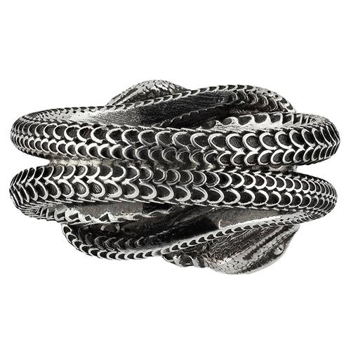 Серебряное кольцо Gucci Garden с переплетенными змеями, фото