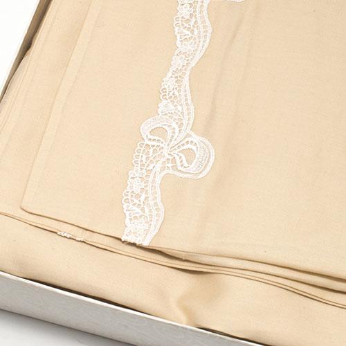 Набор постельного белья Bic Ricami бежевого цвета с кружевом, фото