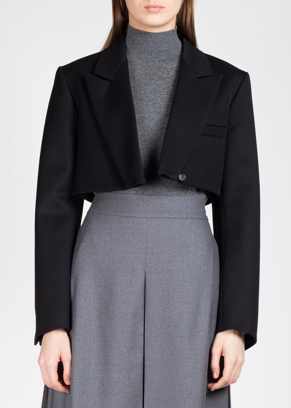 Укороченный жакет Nina Ricci из шерсти черного цвета