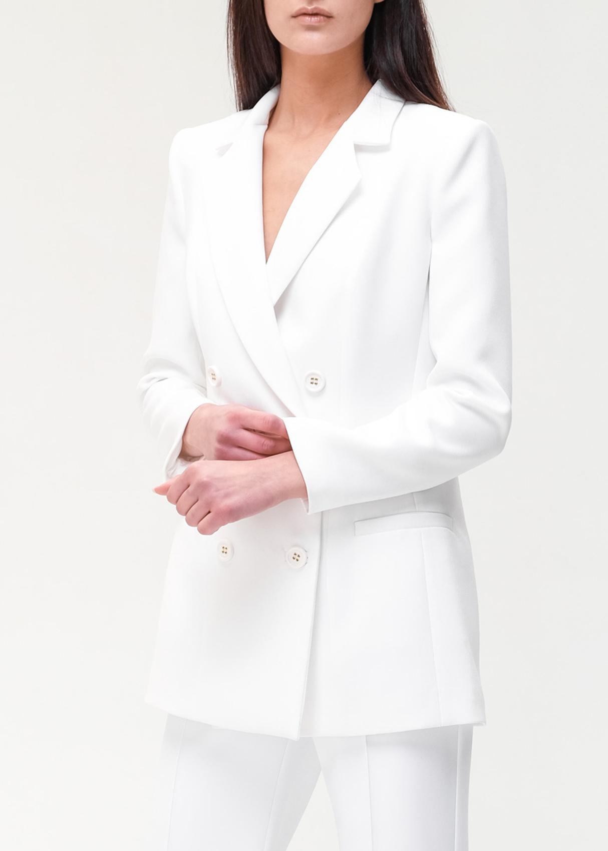 Двубортный пиджак Elisabetta Franchi белого цвета