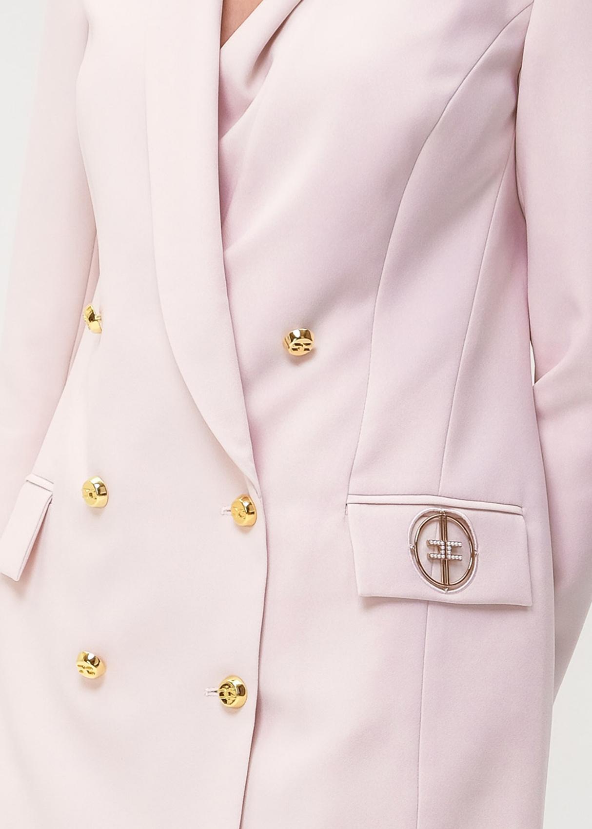 Розовый пиджак Elisabetta Franchi с брендовым декором