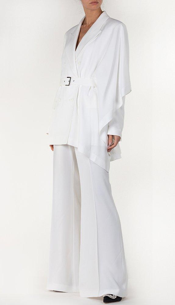 Асимметричный пиджак Alberta Ferretti белого цвета