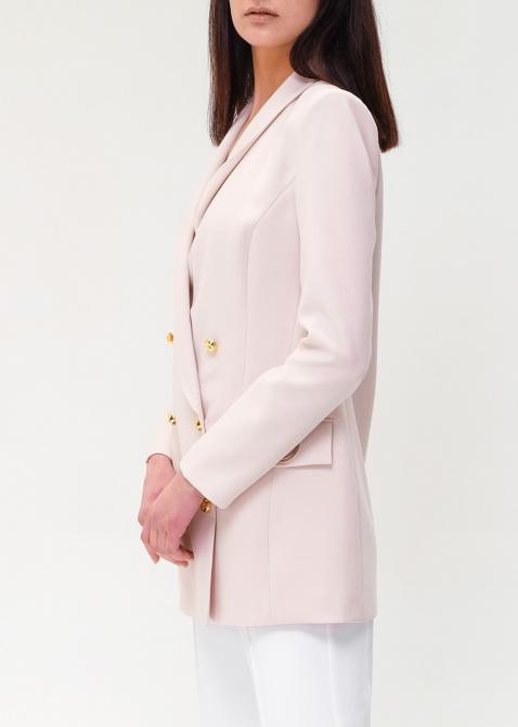 Розовый пиджак Elisabetta Franchi с брендовым декором, фото