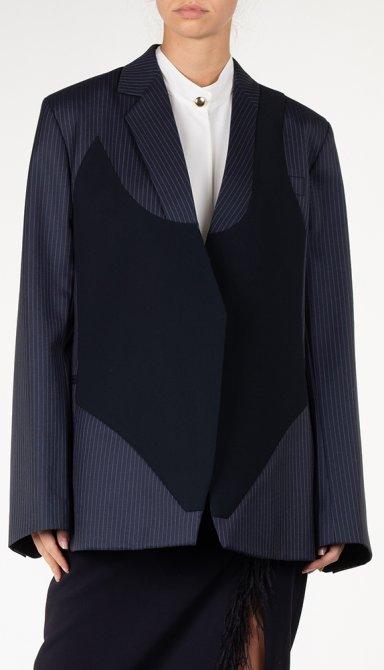 Шерстяной пиджак Nina Ricci с контрастными деталями, фото
