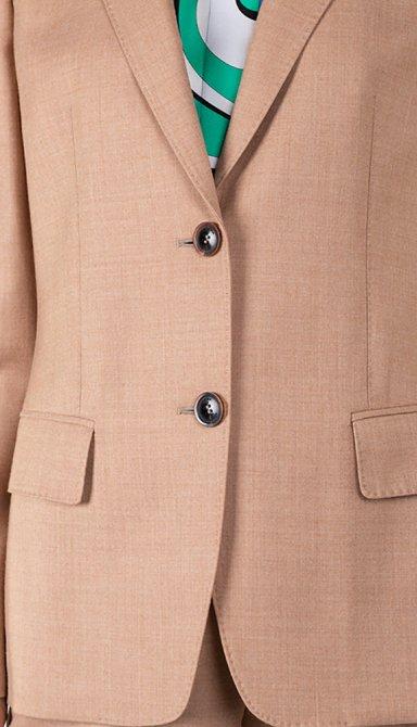 Шерстяной пиджак Agnona бежевого кроя, фото