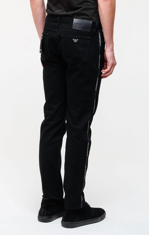 Мужские зауженные джинсы Emporio Armani синего цвета