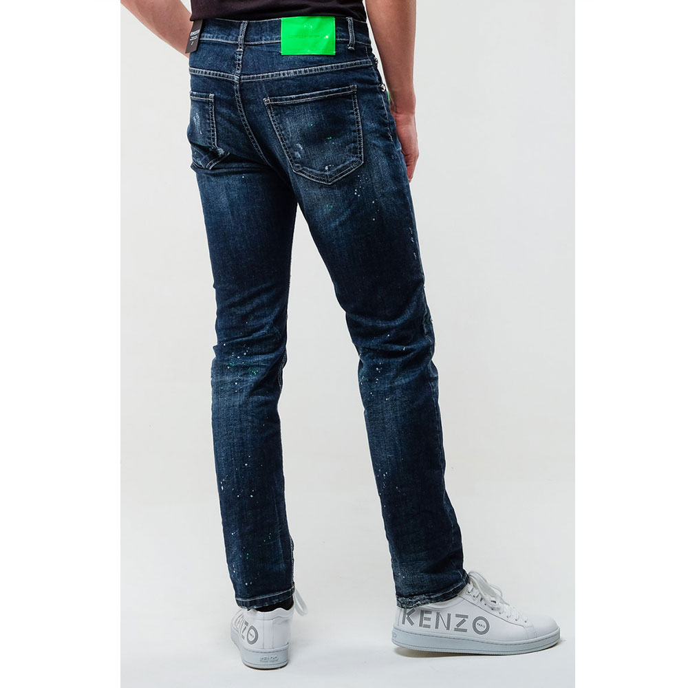 Синие джинсы Frankie Morello с пятнами краски