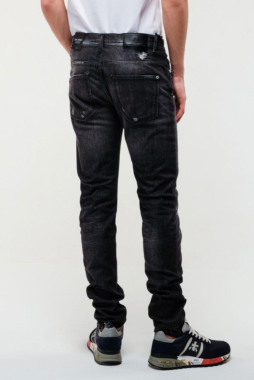 Рваные джинсы Frankie Morello в черном цвете
