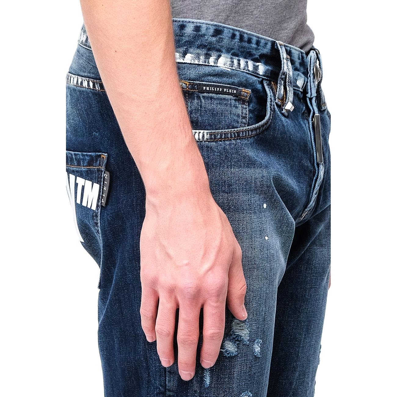 Синие мужские джинсы Philipp Plein прямого кроя
