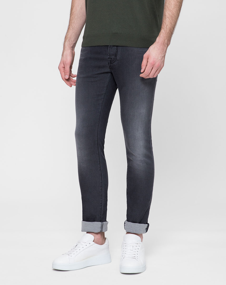 Серые джинсы Jacob Cohen с потертостями