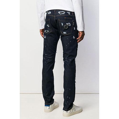 Рваные джинсы Philipp Plein темно-синего цвета, фото