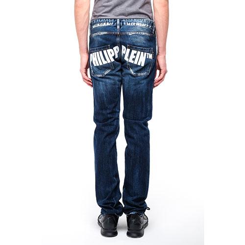 Синие мужские джинсы Philipp Plein прямого кроя, фото