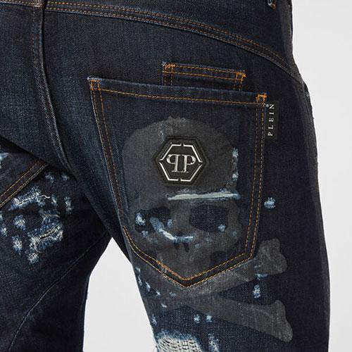 Джинсы Philipp Plein с потертостями синего цвета, фото