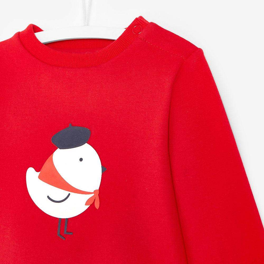 Красный детский свитшот Jacadi с принтом