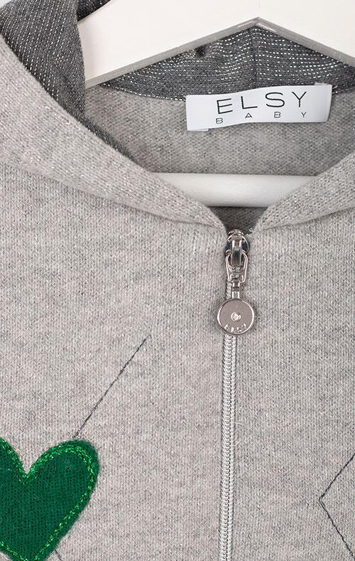 Серая кофта Elsy с капюшоном для девочки, фото
