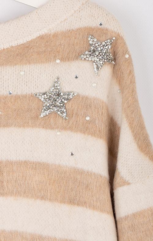 Детское полосатое платье Elsy с вышитой звездой, фото