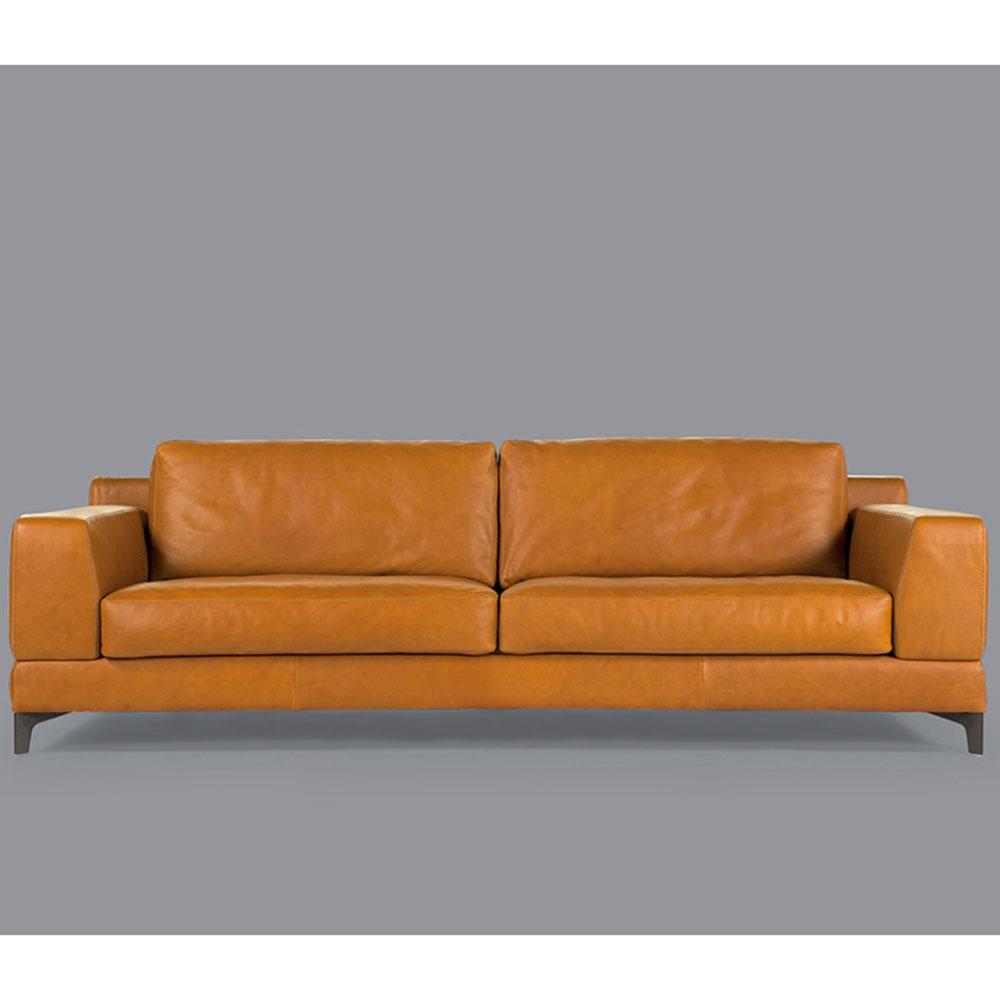 Коричневый диван Borzalino Ben на металлических ножках