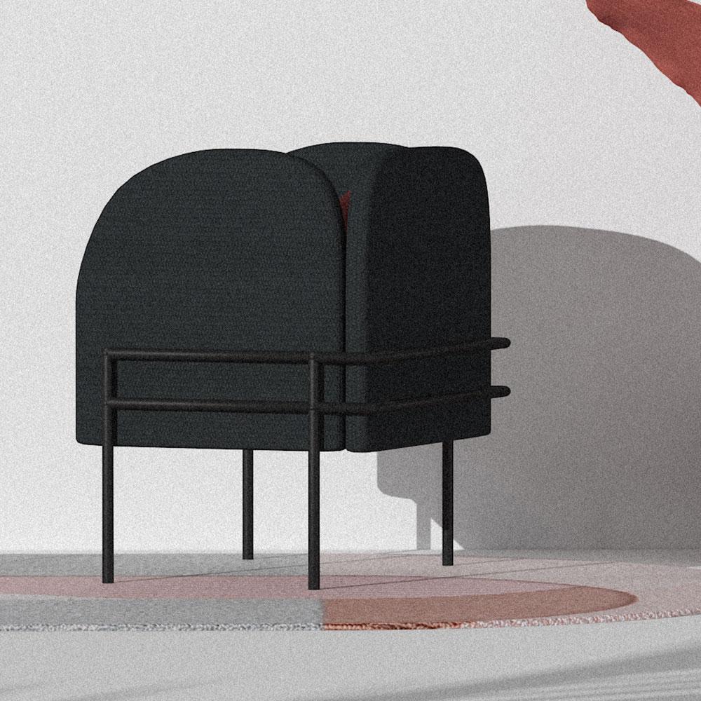 Черное кресло Wudus Korsi с цветными вставками