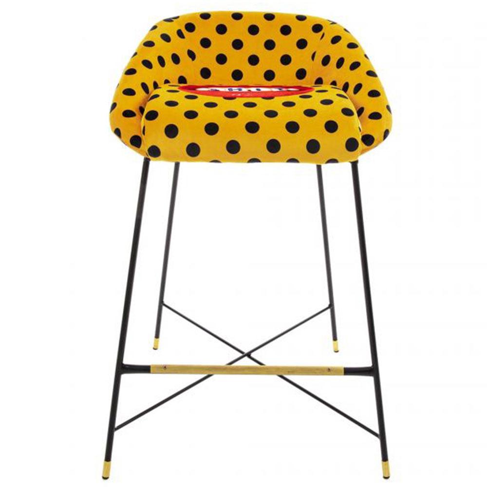 Барный стул Seletti Toiletpaper желтый в горох