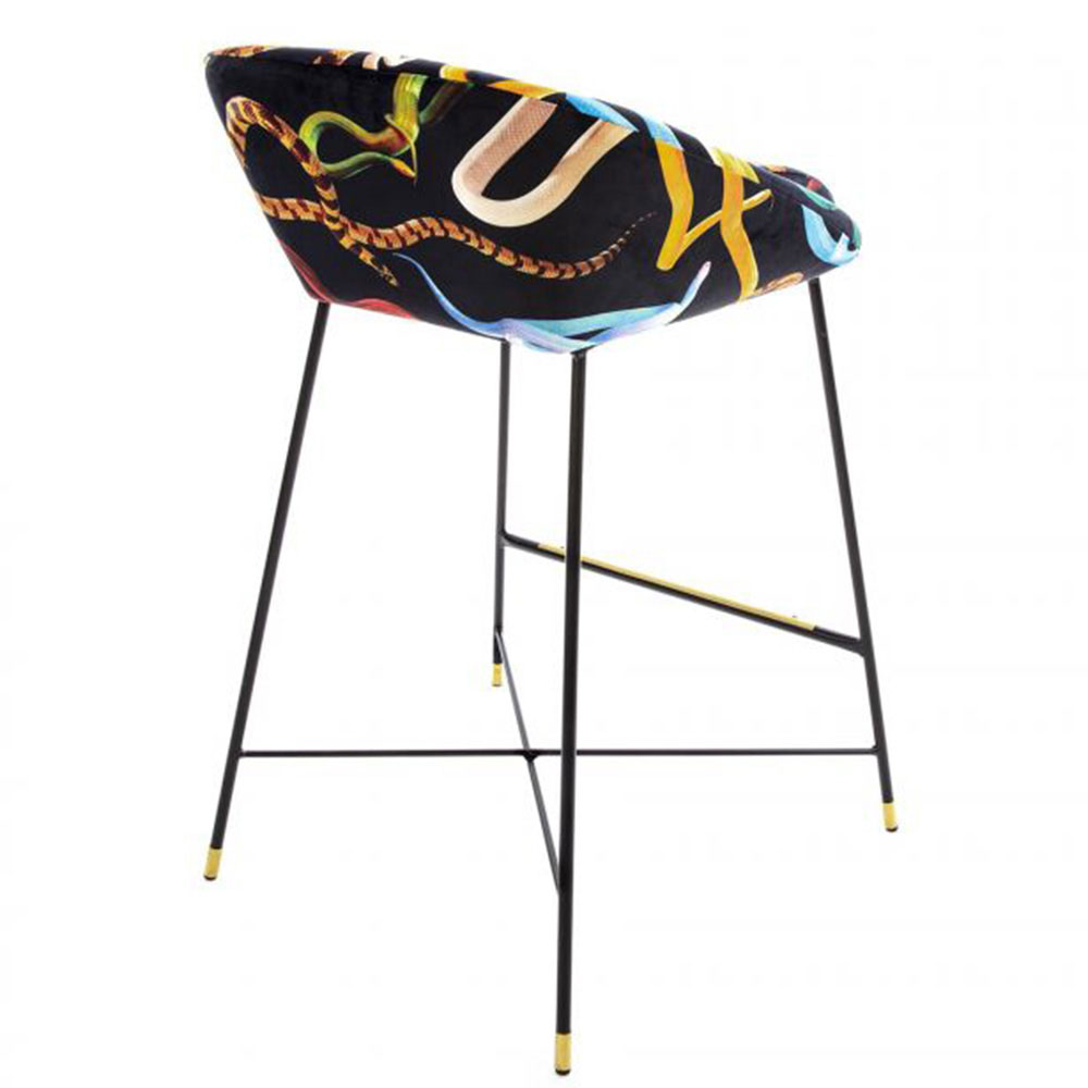 Барный стул Seletti Toiletpaper с принтом-змеи