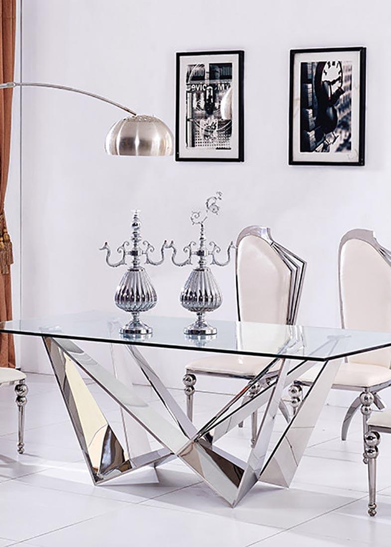 Стеклянный стол PRESTOL Глазго на многогранных ножках